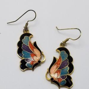 Vintage Cloisonne Earrings Butterfly Earrings 80's